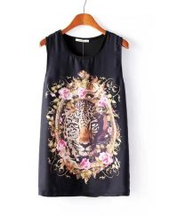 Rock Style Tiger Head Printed Tank Tops ASOS Inspired Tees