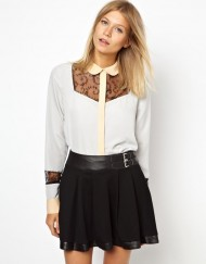 Shirt with Contrast Floral Lace Bib leisure Shirt-