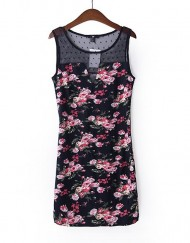 Slim Fit Flower Prints Sexy Elastic Tank Dress with Lace Neck Dress
