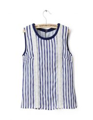Vertical Striped Lace Blouse ASOS Inspired O-neck Shirt