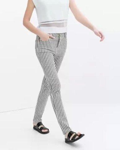 Vertical Striped Prints Skinny Pencil Pants