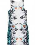 Vintage Birds Flower Prints slim fit Sleeveless Chiffon DressDRB
