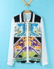 Vintage Birds Prints Casual Chiffon Blouse shirts -