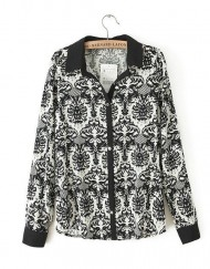 Vintage Black Pattern Prints Shirt Brand Design Casual Blouse-