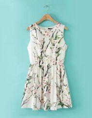 Vintage Floral Printed Pleated Sleeveless Dress