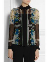 Vintage Flower Prints Chiffon Blouse leisure Shirt
