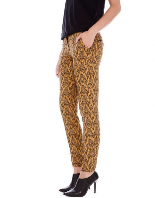 Vintage Flower Prints Elastic Pencil Pants -