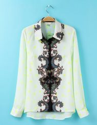 Vintage Flower and Stars Prints Casual Chiffon Blouse leisure Shirt