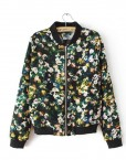 Vintage Rural Flowers Printed V-neck Bomber Jackets ASOS Inspired Casual Coats with Zipper