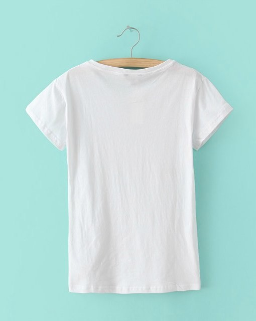 White Prints Casual T-shirt Tops