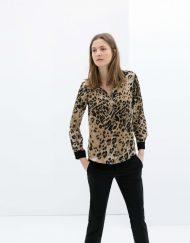 Wild Leopard Prints Chiffon Blouse leisure Shirt-