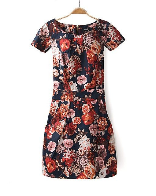 Spring  Flower Prints Bud Dress with Sashes  Short Sleeve Dress A