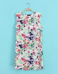 Summer Top Shop Inspired Flowers Printed Above knee Chiffon-Back Straight Dress with Sashes