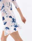 Woman Flower Prints / Sleeves A-line Dress with Ruffles Sweep