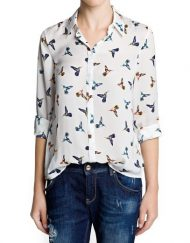 Birds Prints Casual Chiffon Blouse leisure Shirt