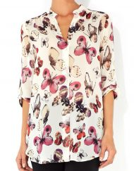 Butterfly Pattern Casual Chiffon Blouse leisure Shirt