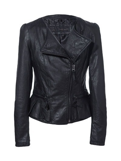 Leather Jackets with Ruffles Detail Coat