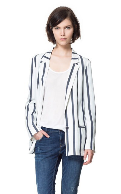 Vertical Stripe Blazer Casual Coat High Quality Suit BL
