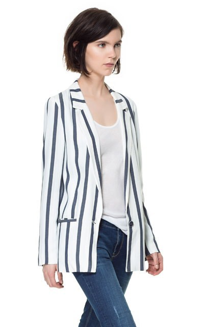 Vertical Stripe Blazer Casual Coat High Quality Suit BL