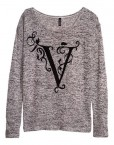 Autumn  Letter V Prints Knitwear Casual Sweater -