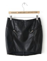 Autumn Hip Packed Leather Mini Skirt S-O