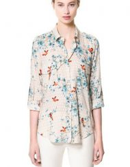 Birds Printed Turn-down Collar Shirts Jacquard pattern Blouse -