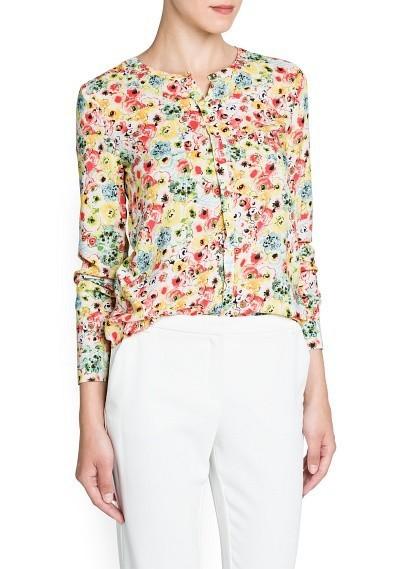 9b22fec04dd8b Girls Color Flower Pattern O-neck Blouse Casual Shirt