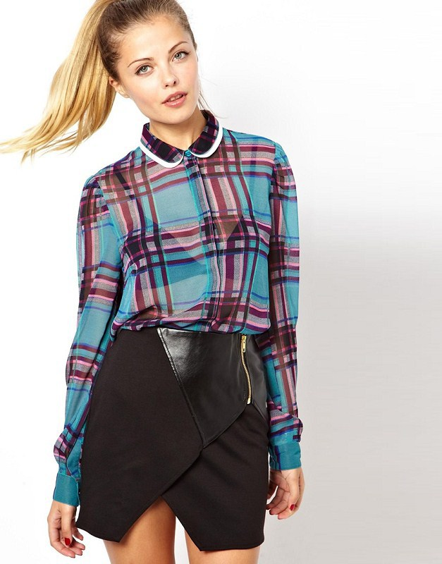 Girls Colored Plaids Pattern See Through Blouse Leisure Shirt