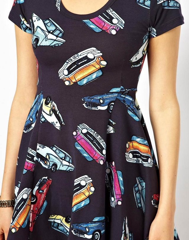 a2ec7af41ac Girls Cars Printed Casual Short-sleeves Pleated Dress Summer Dress ...