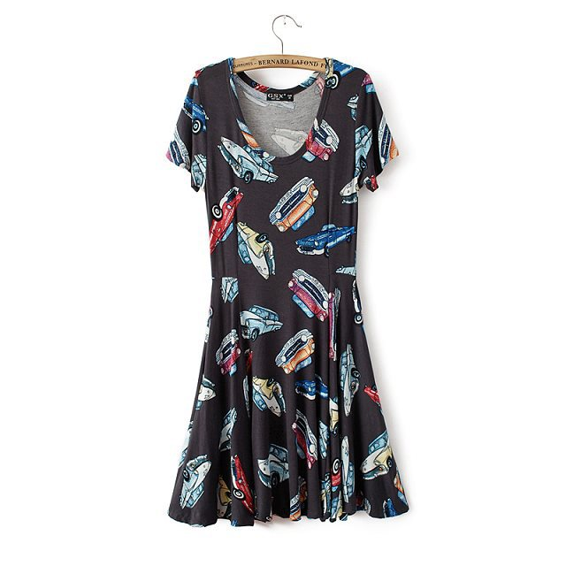 dfef7dd979c Girls Top Shop Inspired Cars Printed Casual Short-sleeves Pleated Dress  ASOS Inspired Summer Dress. prev