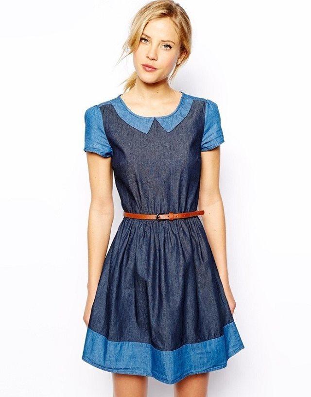 7214ed1c9dd Girls Peter Pan Collar Casual Pleated Denim Dress with Leather Belt Dress