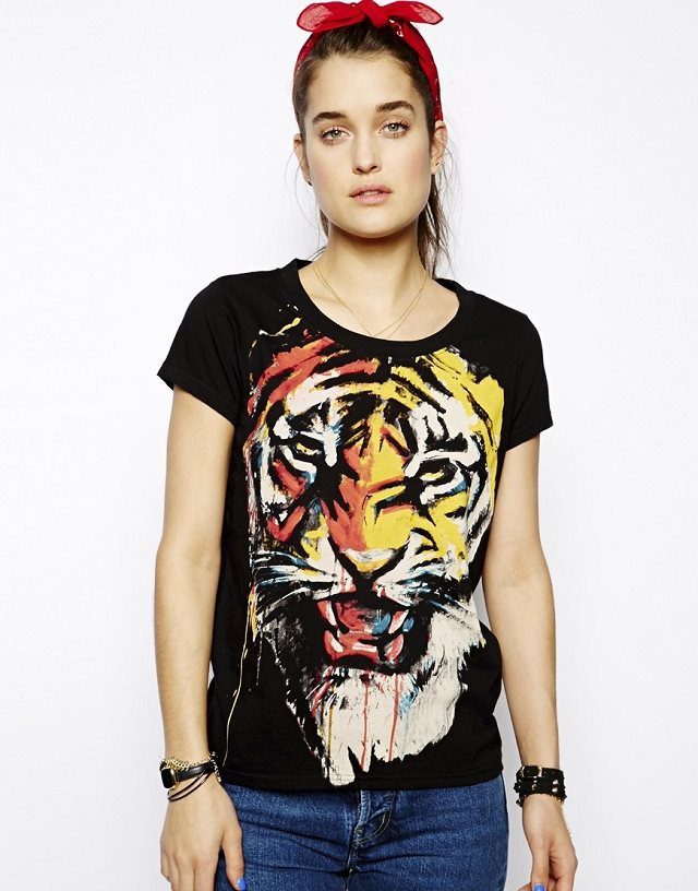 Girls Colored Tiger Head Prints Short Sleeve Casual T-shirt Tops