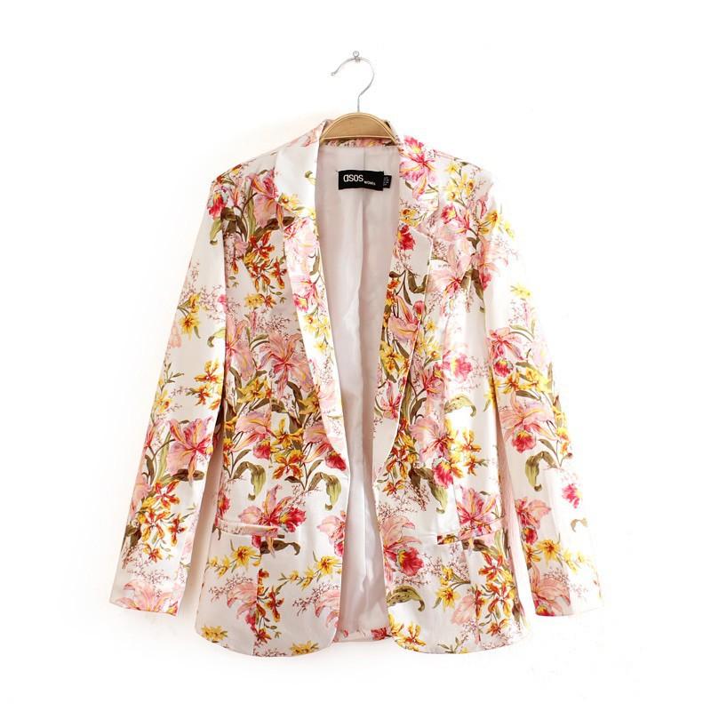 Girls Floral Prints Leisure Blazer Casual CoatSlim fit Suit BL-