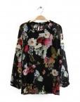 Girls Flower Pattern Chiffon Blouse Casual Shirt -