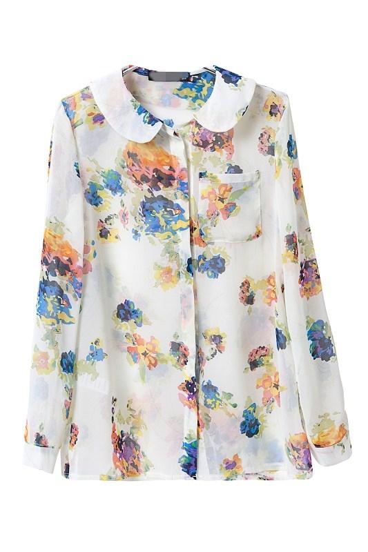 Girls sweet peter pan collar floral pattern casual chiffon for Peter pan shirt pattern