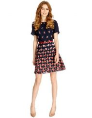 Birds& Flower Prints Above Knee Short Sleeve Top Shop Inspired Style Dress with Red Sash
