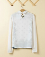 Blue Star Pattern Chiffon Turn down Collar Blouse Sweet Shirt