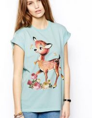 Top Shop Inspired Deer Prints Short Sleeve O-Neck Tops T-shirt