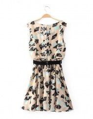 Top Shop Inspired Flowers Printed O-Neck Above Knee Sleeveless Pleated Chiffon Dress with Sashes