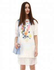 Top Shop Inspired Flowers Printed Short Sleeve Above Knee Straight O-Neck Dress