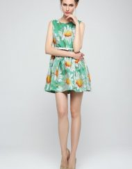 Top Shop Inspired Sunflowers Printed O-Neck Above Knee Pleated Dress with Sashes