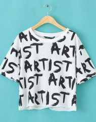 Letters Printed Short Sleeve Casual T-shirt Tops