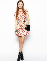 Red Lip Prints Above Knee Short Sleeve Top Shop Inspired Style Dress