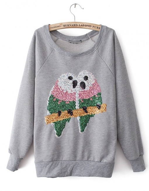 Shinning Colored Parrot Pattern Casual Sweatshirts Pullovers-