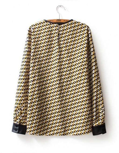 ASOS Inspired Casual Diamond Pattern Blouse Leisure Shirt