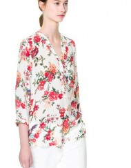 ASOS Inspired Casual Red Flower Printed V-neck Casual Shirts Blouse -