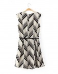 ASOS Inspired Top Shop Inspired Geometric Stripe Printed O-Neck Above Knee Pleated Dress with Zipper on Bac