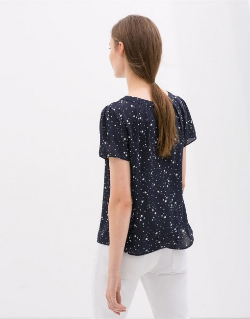 ASOS Inspired Top Shop Inspired Star Prints Short Sleeve Chiffon Blouse with Sweet Bow on Back