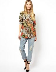 ASOS Inspired Leopard Prints Chiffon Turn-down Collar Blouse Casual Shirts