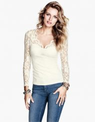 ASOS Inspired Sexy Lace Combined Knit V-neck Casual Shirts  Blouse -